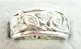 Pierced Art Deco Platinum Genuine Natural Diamond Band Ring (#J2385) - $1,550.00