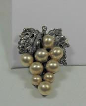 Vintage Faux Pearl Grape Cluster Fur Clip - $12.86
