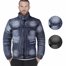 Contender Men's Distressed Multi Pocket Zip Up Cotton Denim Jean Jacket 9DJ03