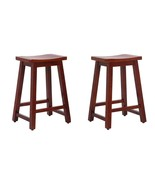 """2 PCS 24"""" Solid Wood Saddle Bar Counter Kitchen StoolS Seat Chair w Foot... - $119.95"""