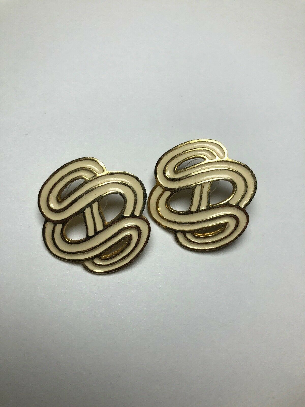 Primary image for Vintage Costume Jewelry Earrings Gold Tone And Cream Infinite S's