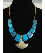 BPD Betsey Pittard Design Frannie Statement Necklace Faux Marbled Turquoise - $39.59