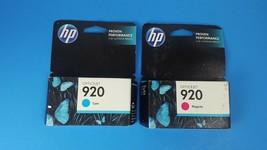 Set of 2 HP 920 Ink Cartridges 1 Cyan CH634AN 1 Magenta CH635AN New Sealed - $12.17