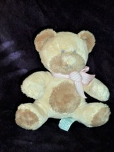 "13"" Soft Babies Rattle Bear 'taffey' From Russ With Pink Bow Cream/Tan/Brown - $24.74"