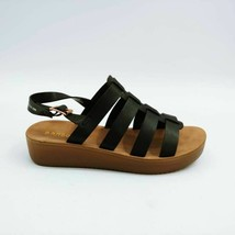 Bamboo Womens Core 04 Flat Sandals Black Adjustable Buckle 7 New - $17.80