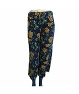 J. Crew Women's Wide Leg Cropped Navy Yellow Floral Polyester Pants Size... - $32.52