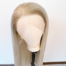 Long Straight Blonde Wig Ombre Wig Synthetic Lace Front Wig Side Part Wig 2 Tone