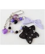 Pastel Goth Bag Charm, Black Star Keychain, Kawaii Accessories - $14.00