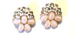 BSK Lucite Flower Earrings Clip On Pink AB Rhinestone Enamel Earrings - $15.79