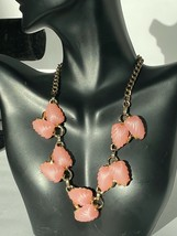 """Pink Shell Moon-glow Thermoset Gold Tone Necklace 16"""" Vintage - $24.70"""