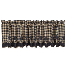 BLACK STAR Scalloped Valance Layered Lined - 16x72 - Black/Tan - VHC Brands