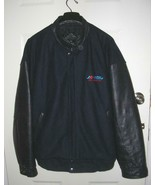 Mens NAVY BLUE Melton Cloth & Leather Varsity Bomber Jacket XL Embroidered - $33.94