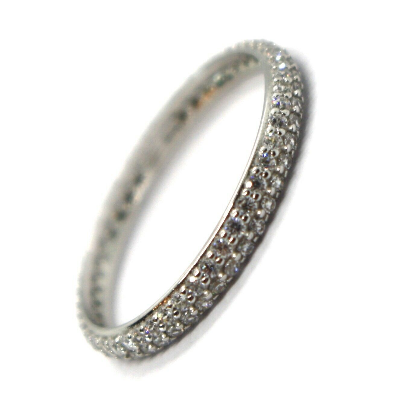 White Gold Ring 750 18K, Eternity, 2.5 mm, Double Row, Zircon Cubic