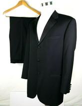 Hugo Boss Mens Two Piece Tuxedo Size 44 Long 38 x 33 Black 100% Wool Mad... - $128.65