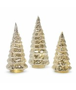 Set of 3 Gold Silver Lighted Mercury Glass Christmas Trees Indoor Holida... - $66.82