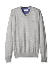 Lacoste Men's Seg 1 Cotton Jersey V-Neck Sweater, Silver Chine, Size 2XL - $89.09
