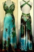 JOVANI Multi-Color Subtle Print Intricate Beaded Cut-Out Prom Pageant Go... - $97.99
