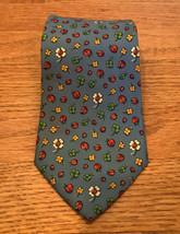 Salvatore Ferragamo BLUE Ladybug Clover Shamrock Silk Neck Tie ITALY - $29.67