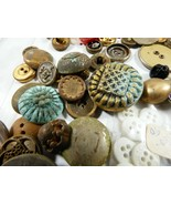 Lot Antique Old VTG mix color size Buttons Metal Mother of Pearl Plastic... - $29.70