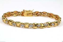VINTAGE TWO TONE TONE X O LINKS TENNIS BRACELET 7.25 IN 925 STERLING BR 732 - $22.99