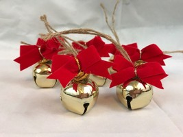 Jingle Bell Ornaments Red Bows Gold Tone Lot Of 8 - $6.17