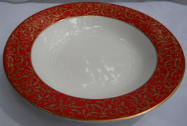 Mikasa Parchment Red Soup Bowl S L3471 Gold Filigree - $9.88