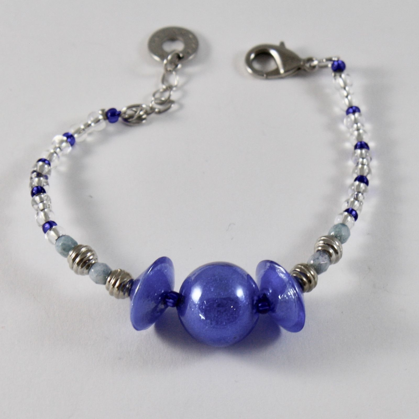 ANTICA MURRINA VENEZIA BRACELET WITH BLUE MURANO GLASS DISC BALL 7 INCHES LONG