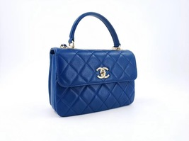 Authentic Chanel Quilted Lambskin Blue Trendy CC Top Handle Flap Bag GHW