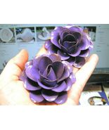 TWO Large metal Purple Roses flowers for embellishments and accents - $19.77