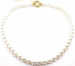 Collar, Cierre Anillo Grande Oro Amarillo 18K, Perlas Blancas 8-8.5 MM - $985.28