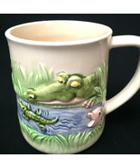 Vintage Quon Quon 3D Relief Crocodile Baby Fish Ceramic Mug Made in Japan  - $21.78