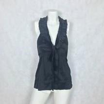 BCBG Maxazria top Sleeveless Black Silk ruffle Career formal women size XS - $34.99