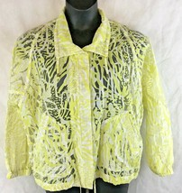 Chico's 2 Lace Sheer Zip and Snap Jacket Yellow Lightweight W/ Pockets - $19.75