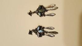 "Antique Vintage Sterling Silver 925 Pendants, 2, multi colored, 2"" long - $14.00"