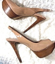 Jessica Simpson Sz 9.5 B Nude Beige Taupe Heels Shoes Peep Toe Pumps 5.5... - $15.04