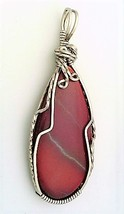 Red Jasper Titanium Copper Wire Wrap Pendant 12 - $27.94