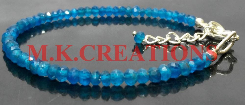 "Primary image for Natural Neon Apatite 3-4mm Beads 6"" Long 925 Silver Beaded Chain Bracelet"