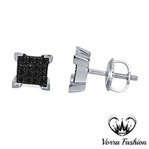 Square Shape Stud Earrings Black Real Diamond 14k White Gold 925 Sterlin... - £88.06 GBP