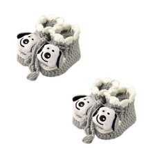 Gray Dog Woolen Yarn Baby Newborn Shocks Infant Toddler Shoes 2 Pack 0-6M