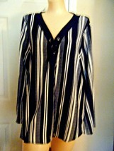 KARINA & CHLOE BLACK/WHITE STRIPE LONG SLEEVE TOP SZ XL - $17.41