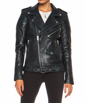 New Women Genuine Soft Leather Motorcycle Jacket Black Biker Coat Lambsk... - $150.90+