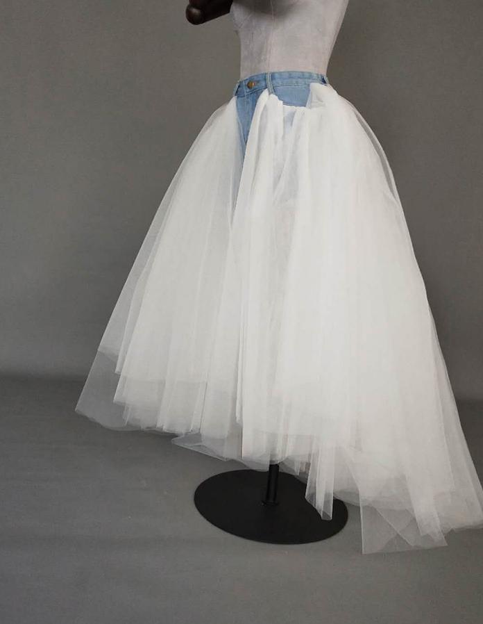 Women Ruffle Slit Tulle Skirt Floor Length Tulle Skirt w. Slit Jean Party Skirt image 4