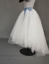Women Ruffle Slit Tulle Skirt Floor Length Tulle Skirt w. Slit Jean Party Skirt image 3