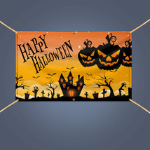 Outdoor Home Decor Scary Pumpkin HAPPY HALLOWEEN Vinyl Banner Sign, 3' X 2' - $13.29