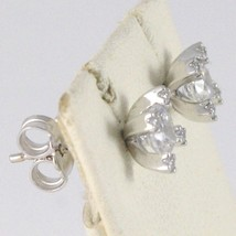 BOUCLES D'OREILLES OR BLANC 18K, CROIX AVEC ZIRCONIA CUBES, MADE IN ITALY, 750 image 2