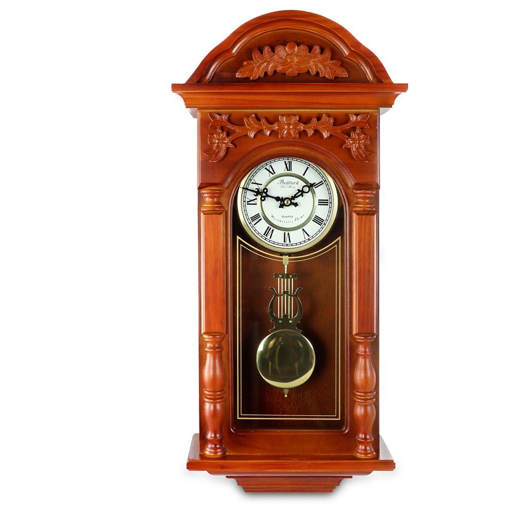 Bedford Clock Collection 27.5 Inch Oak Finish Pendulum Wall Clock - $153.05