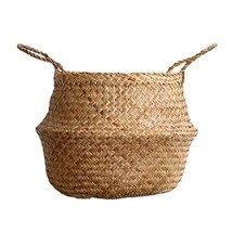 DUFMOD Large Natural Woven Seagrass Tote Belly Basket for Storage, Laund... - $50.84