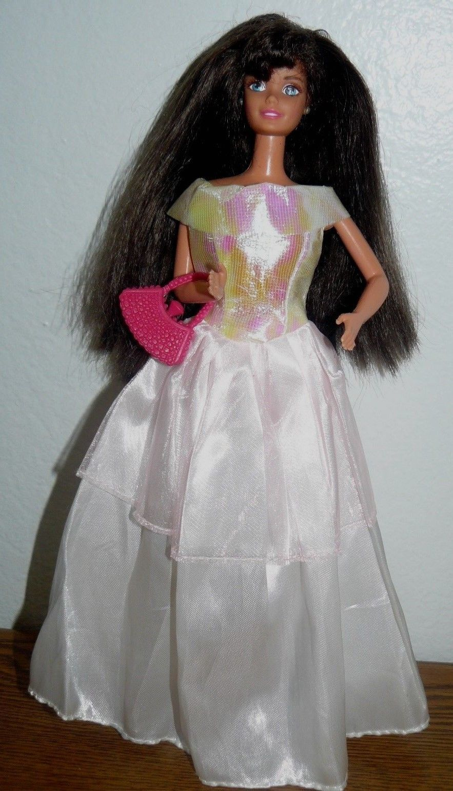 0f6eddd6b991 S l1600. S l1600. Previous. Mattel Barbie Twist N Turn blue eyed doll in white  dress w pink top shoes