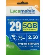 Lycamobile $29 Plan Preloaded SIM Card free 1Month 5GB  Data 10 SIM card Bundle - $97.02