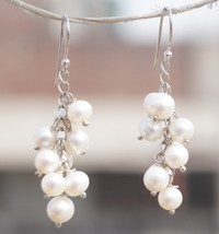 Dangle Pierced Earring White Freshwater Cultured Pearl 925 Silver Handma... - $14.95
